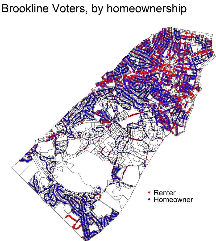 map of registered voters in brookline with points shaded red for homeowners and blue for renters